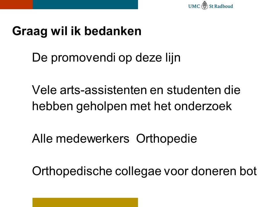 Graag wil ik bedanken De promovendi op deze lijn Vele arts-assistenten en studenten die hebben geholpen met het onderzoek Alle medewerkers Orthopedie Orthopedische collegae voor doneren bot