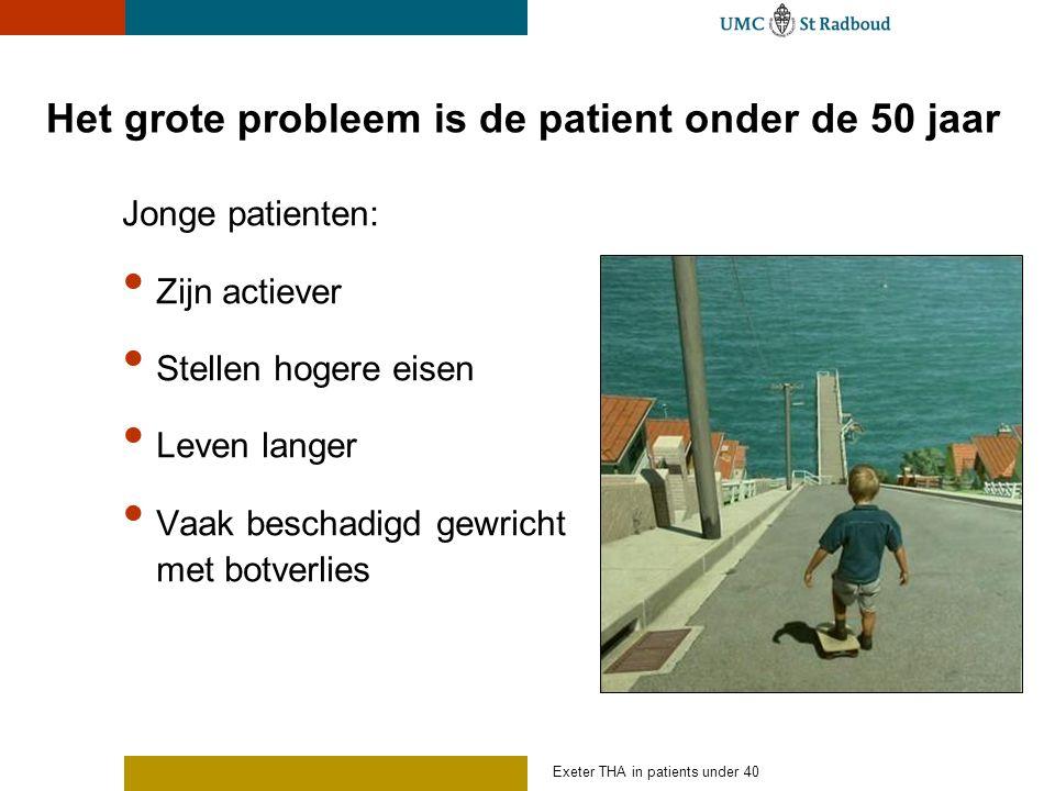 Het grote probleem is de patient onder de 50 jaar Jonge patienten: Zijn actiever Stellen hogere eisen Leven langer Vaak beschadigd gewricht met botverlies Exeter THA in patients under 40