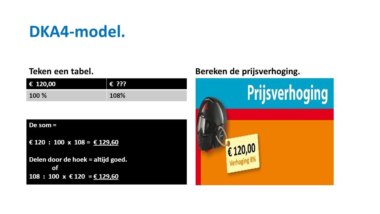 Teken een tabel. € 120,00€ . 100 %108% Bereken de prijsverhoging.