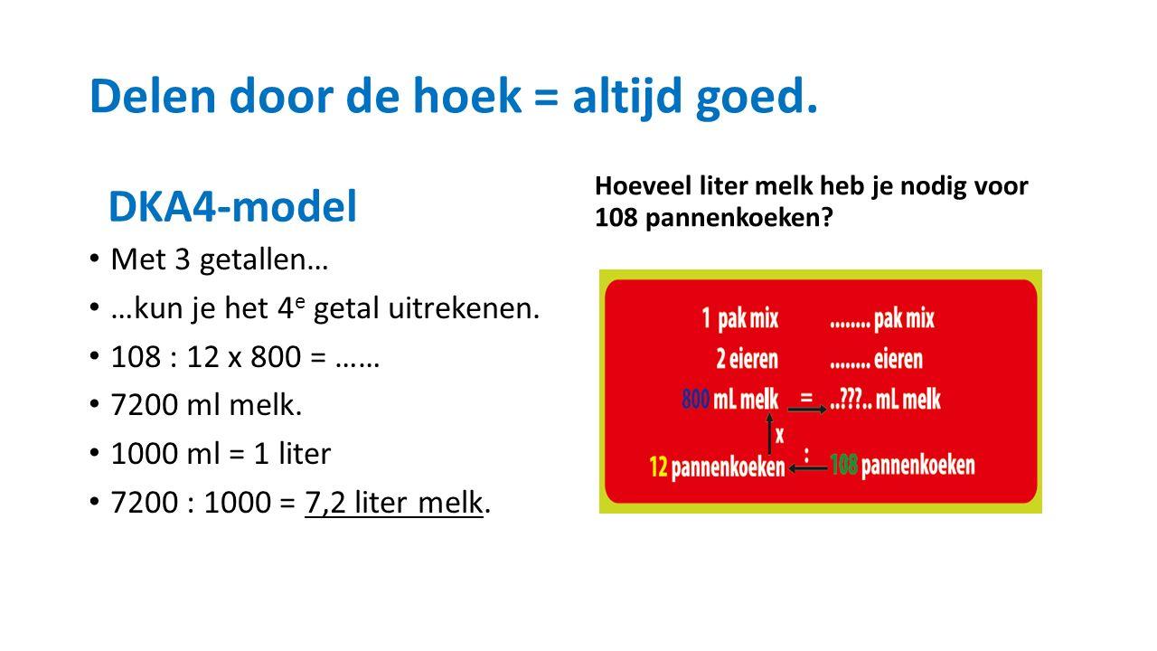 Delen door de hoek = altijd goed. DKA4-model Met 3 getallen… …kun je het 4 e getal uitrekenen.