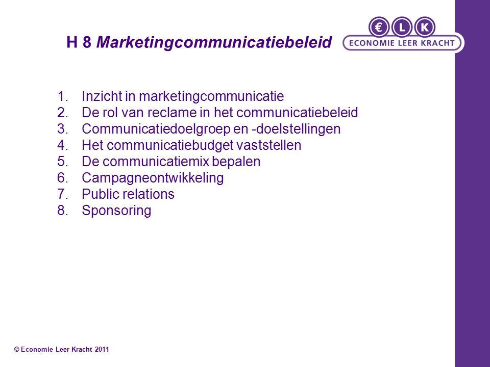 H 8 Marketingcommunicatiebeleid 1.Inzicht in marketingcommunicatie 2.De rol van reclame in het communicatiebeleid 3.Communicatiedoelgroep en -doelstellingen 4.Het communicatiebudget vaststellen 5.De communicatiemix bepalen 6.Campagneontwikkeling 7.Public relations 8.Sponsoring © Economie Leer Kracht 2011
