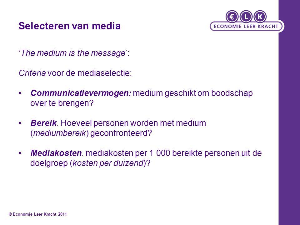 Selecteren van media 'The medium is the message': Criteria voor de mediaselectie: Communicatievermogen: medium geschikt om boodschap over te brengen.