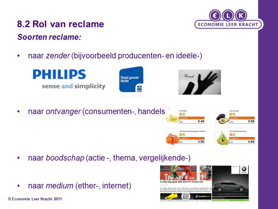 8.2 Rol van reclame Soorten reclame: naar zender (bijvoorbeeld producenten- en ideële-) naar ontvanger (consumenten-, handels-) naar boodschap (actie -, thema, vergelijkende-) naar medium (ether-, internet) © Economie Leer Kracht 2011