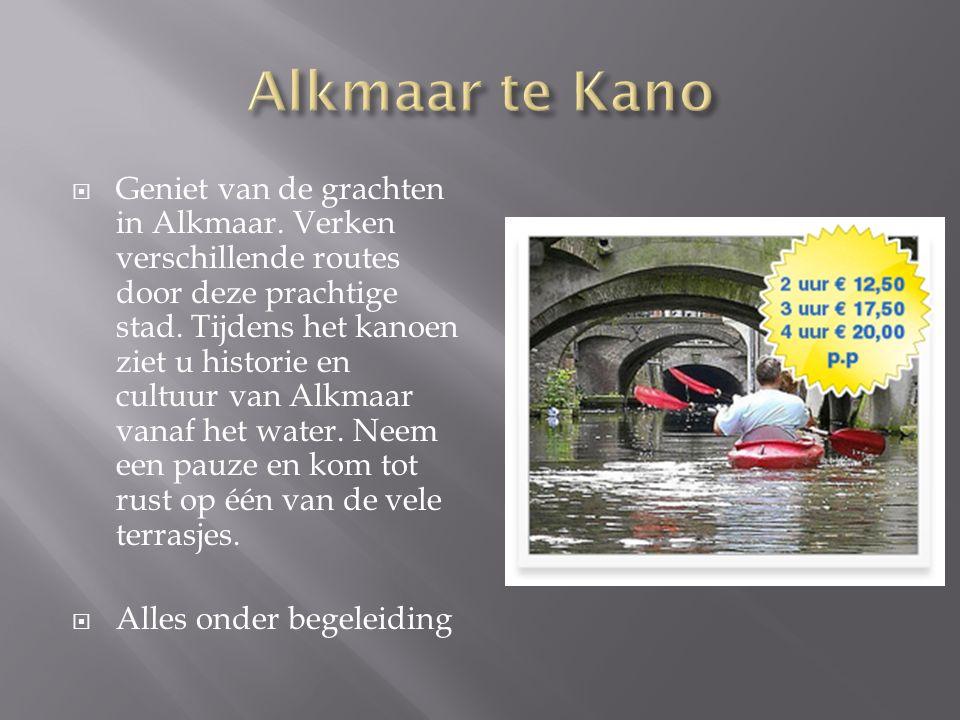  Geniet van de grachten in Alkmaar. Verken verschillende routes door deze prachtige stad. Tijdens het kanoen ziet u historie en cultuur van Alkmaar v