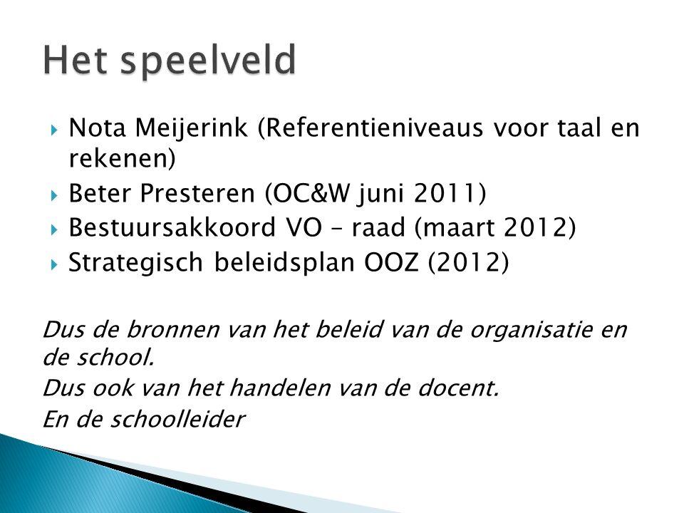  Nota Meijerink (Referentieniveaus voor taal en rekenen)  Beter Presteren (OC&W juni 2011)  Bestuursakkoord VO – raad (maart 2012)  Strategisch be