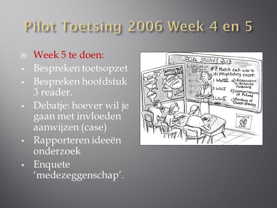  Week 5 te doen: Bespreken toetsopzet Bespreken hoofdstuk 3 reader.