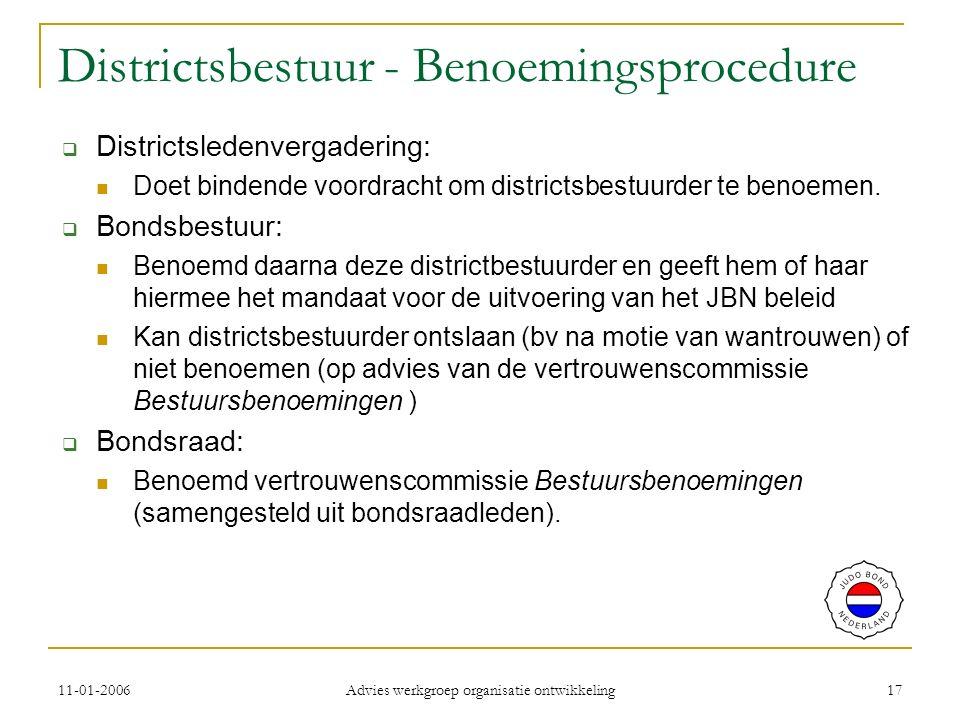 11-01-2006 Advies werkgroep organisatie ontwikkeling 17 Districtsbestuur - Benoemingsprocedure  Districtsledenvergadering: Doet bindende voordracht om districtsbestuurder te benoemen.
