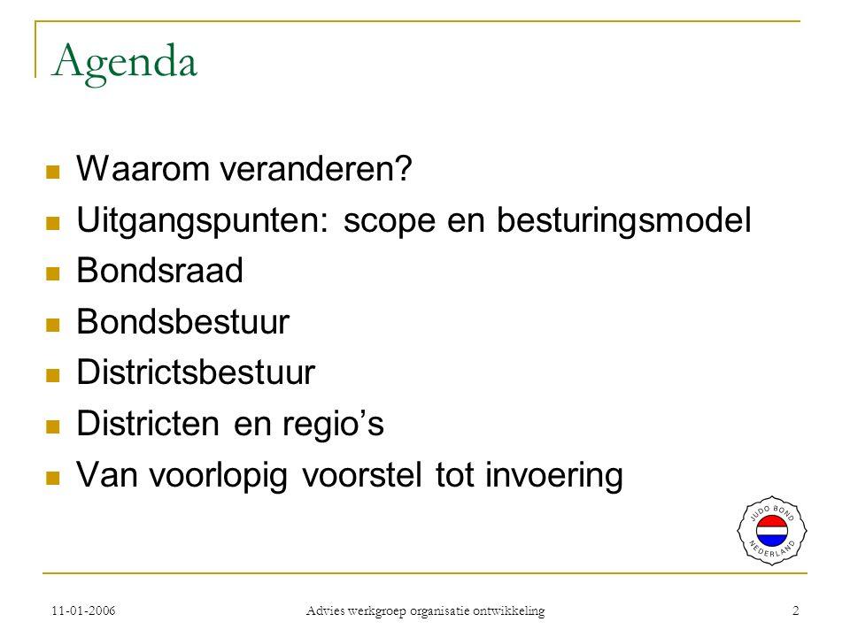 11-01-2006 Advies werkgroep organisatie ontwikkeling 2 Agenda Waarom veranderen.