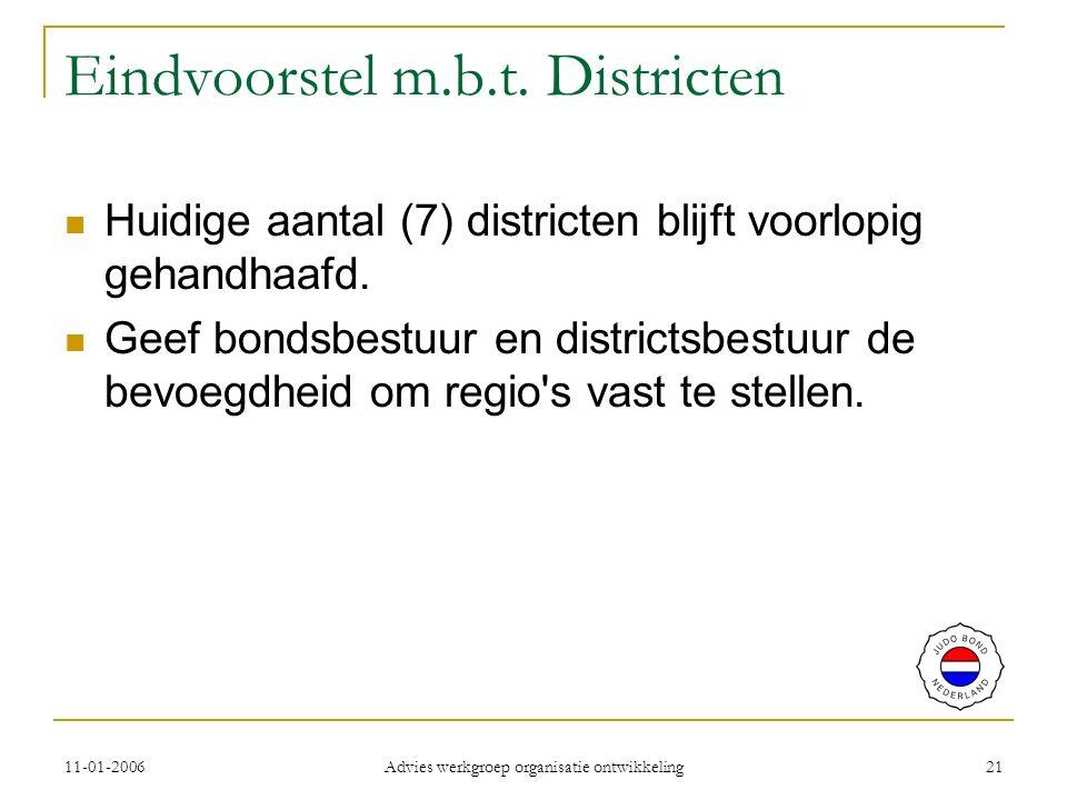 11-01-2006 Advies werkgroep organisatie ontwikkeling 21 Eindvoorstel m.b.t.