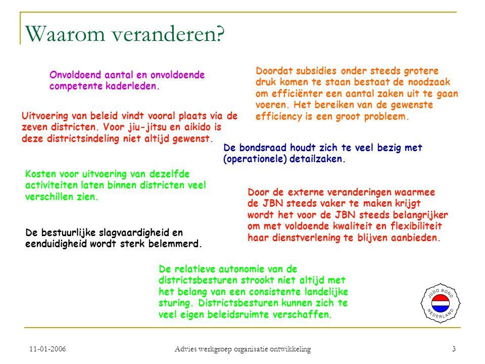 11-01-2006 Advies werkgroep organisatie ontwikkeling 4 Uitgangspunten advies Alleen op hoofdlijnen.