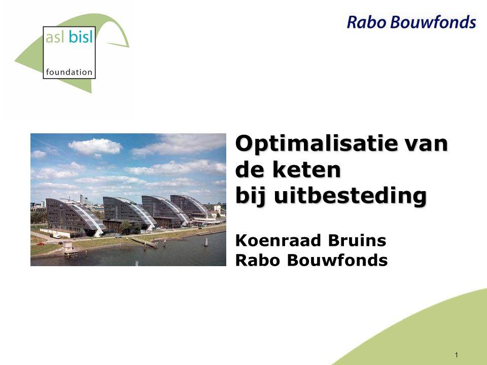 1 Optimalisatie van de keten bij uitbesteding Optimalisatie van de keten bij uitbesteding Koenraad Bruins Rabo Bouwfonds