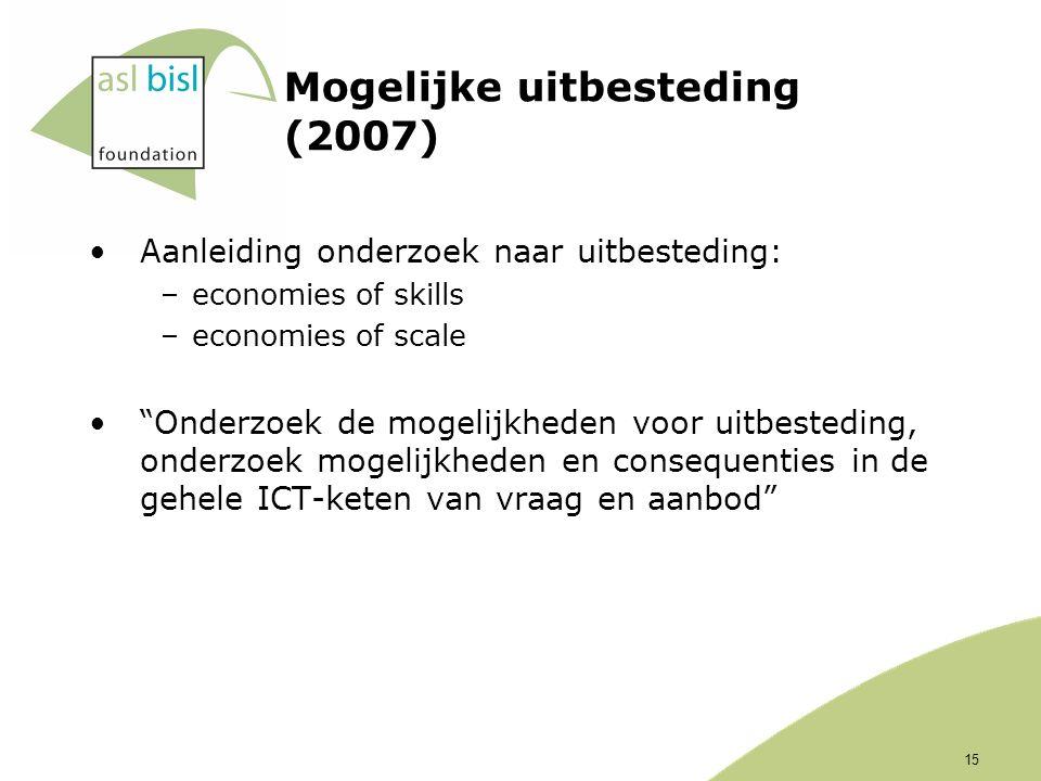 15 Mogelijke uitbesteding (2007) Aanleiding onderzoek naar uitbesteding: –economies of skills –economies of scale Onderzoek de mogelijkheden voor uitbesteding, onderzoek mogelijkheden en consequenties in de gehele ICT-keten van vraag en aanbod