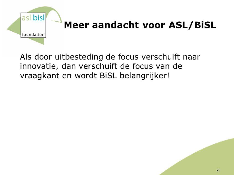 Meer aandacht voor ASL/BiSL Als door uitbesteding de focus verschuift naar innovatie, dan verschuift de focus van de vraagkant en wordt BiSL belangrijker.