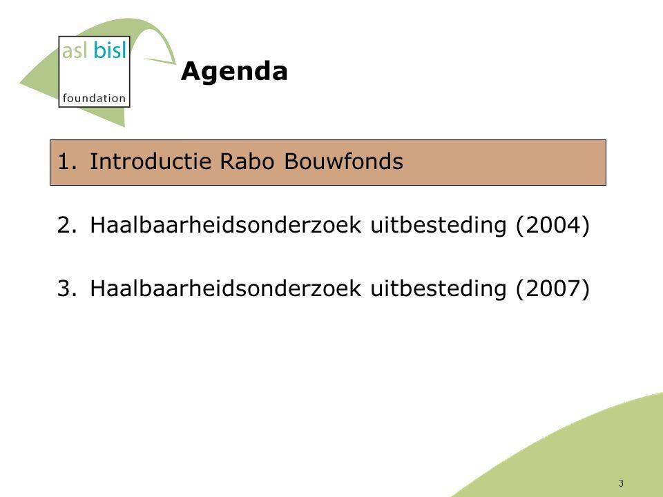 Agenda 1.Introductie Rabo Bouwfonds 2.Haalbaarheidsonderzoek uitbesteding (2004) 3.Haalbaarheidsonderzoek uitbesteding (2007) 3