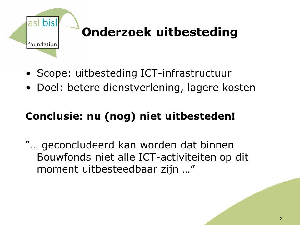 Onderzoek uitbesteding Scope: uitbesteding ICT-infrastructuur Doel: betere dienstverlening, lagere kosten Conclusie: nu (nog) niet uitbesteden.