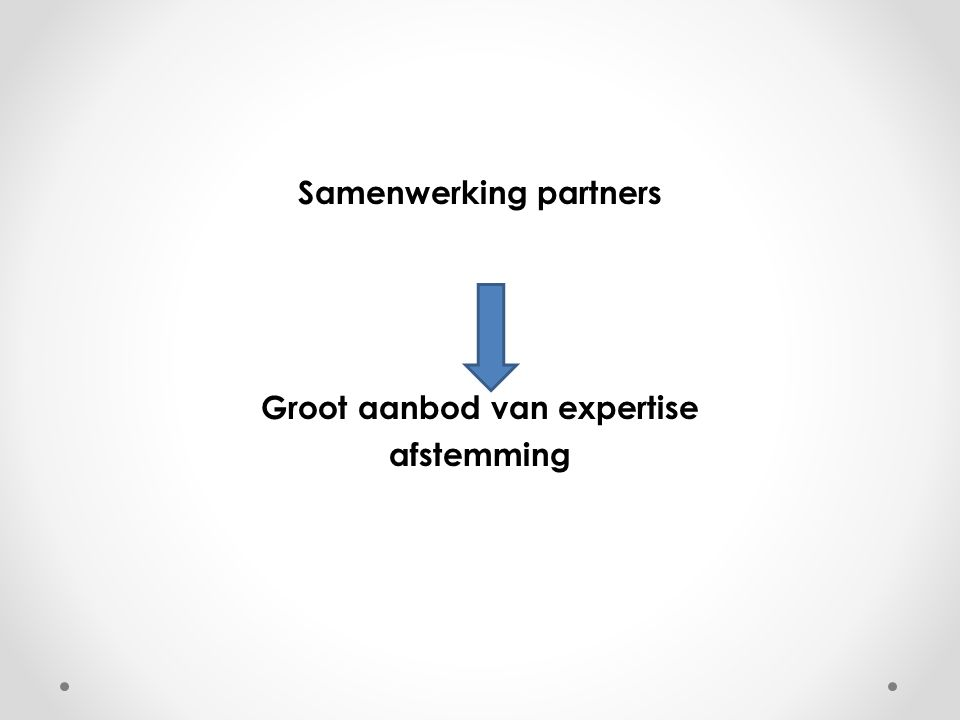 Samenwerking partners Groot aanbod van expertise afstemming