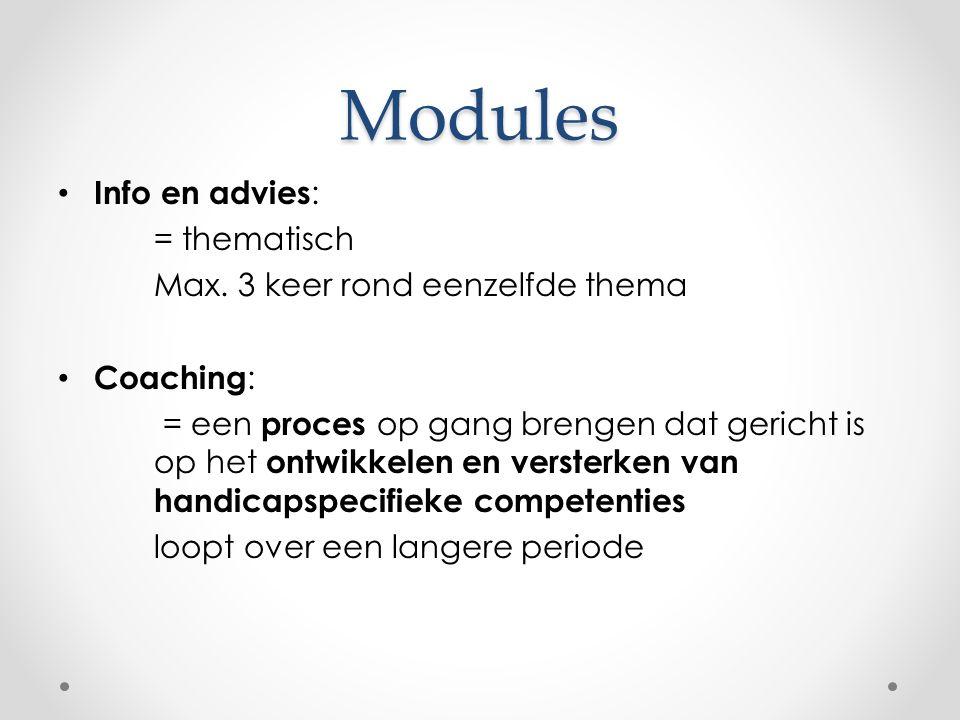 Modules Info en advies : = thematisch Max.