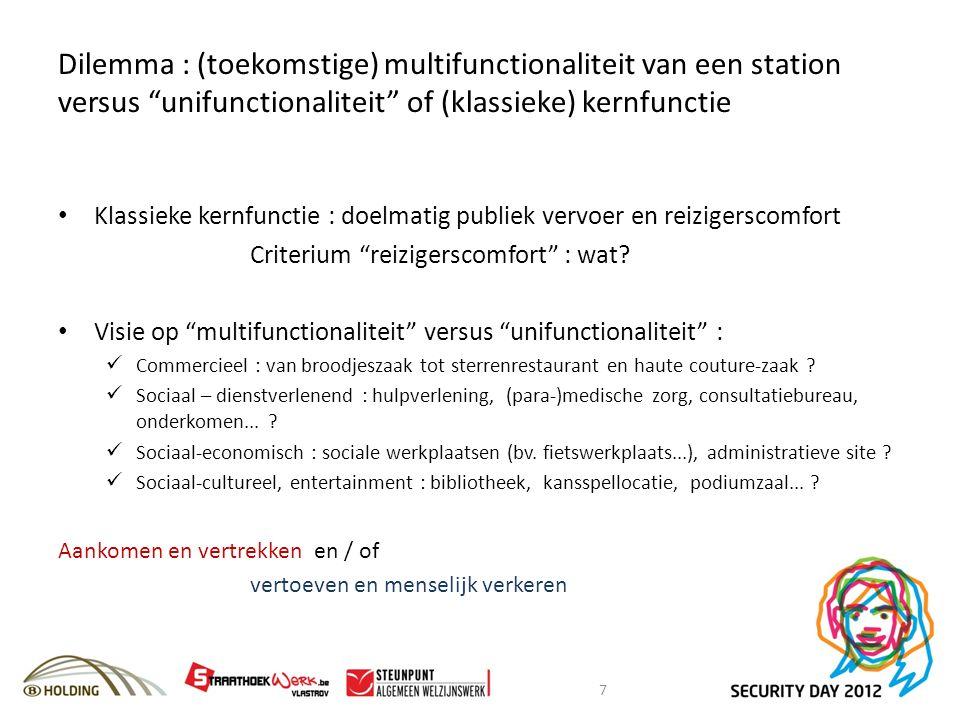 Dilemma : (toekomstige) multifunctionaliteit van een station versus unifunctionaliteit of (klassieke) kernfunctie Klassieke kernfunctie : doelmatig publiek vervoer en reizigerscomfort Criterium reizigerscomfort : wat.