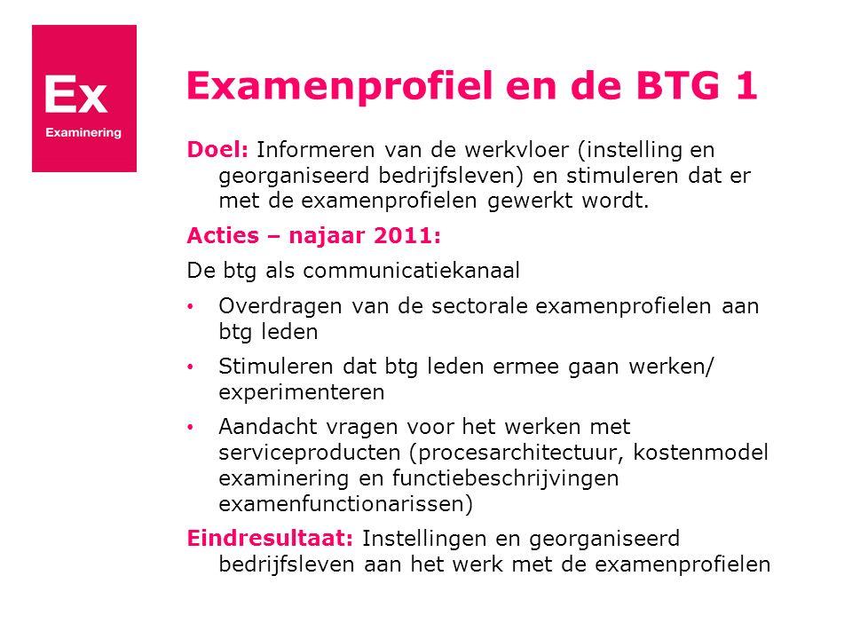 Examenprofiel en de BTG 1 Doel: Informeren van de werkvloer (instelling en georganiseerd bedrijfsleven) en stimuleren dat er met de examenprofielen gewerkt wordt.