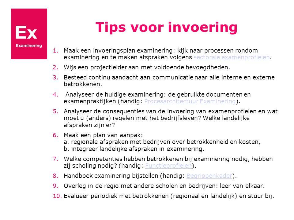 Tips voor invoering 1.Maak een invoeringsplan examinering: kijk naar processen rondom examinering en te maken afspraken volgens sectorale examenprofie