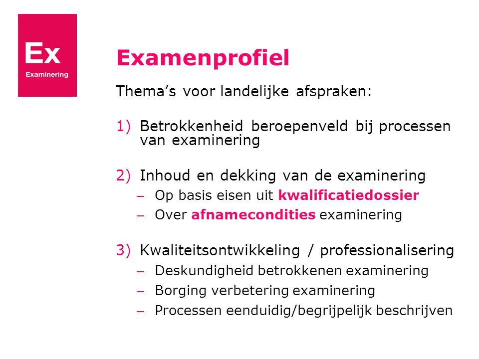 Examenprofiel Thema's voor landelijke afspraken: 1)Betrokkenheid beroepenveld bij processen van examinering 2)Inhoud en dekking van de examinering – O