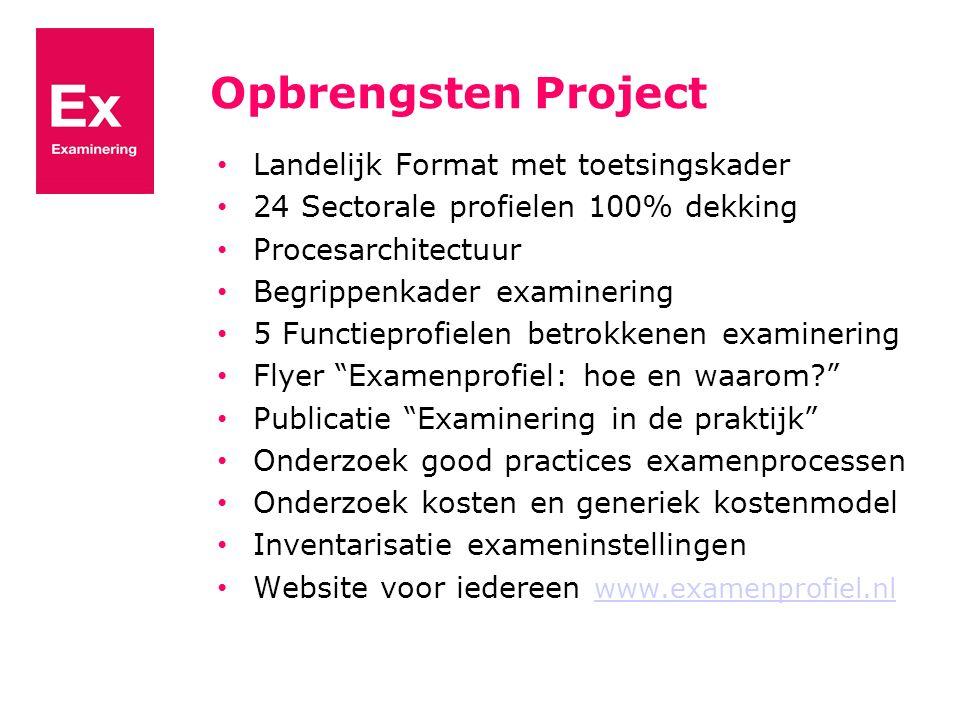 Opbrengsten Project Landelijk Format met toetsingskader 24 Sectorale profielen 100% dekking Procesarchitectuur Begrippenkader examinering 5 Functiepro