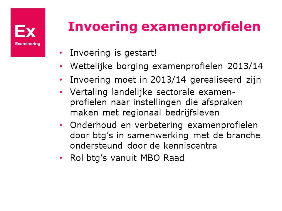Invoering examenprofielen Invoering is gestart! Wettelijke borging examenprofielen 2013/14 Invoering moet in 2013/14 gerealiseerd zijn Vertaling lande