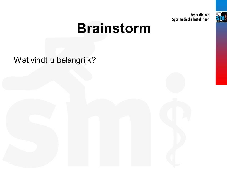 Brainstorm Wat vindt u belangrijk