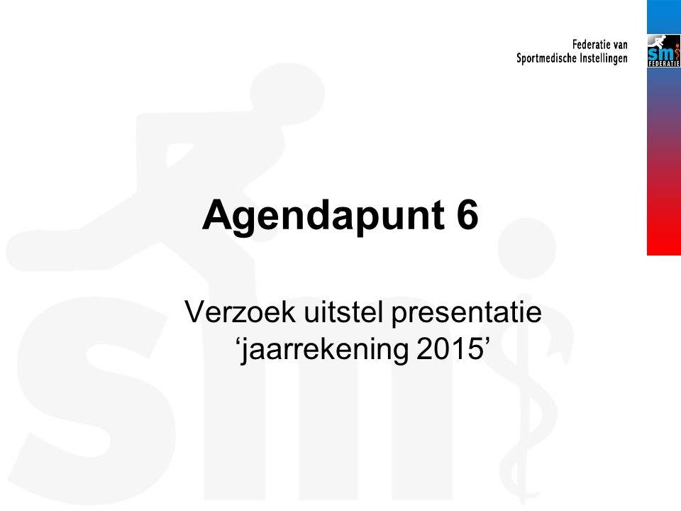 Agendapunt 6 Verzoek uitstel presentatie 'jaarrekening 2015'