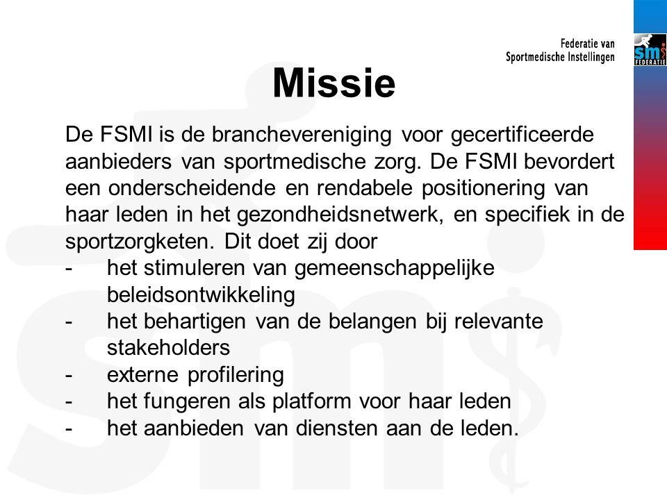 Missie De FSMI is de branchevereniging voor gecertificeerde aanbieders van sportmedische zorg.