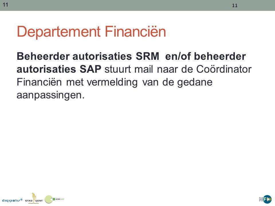 11 Departement Financiën Beheerder autorisaties SRM en/of beheerder autorisaties SAP stuurt mail naar de Coördinator Financiën met vermelding van de gedane aanpassingen.