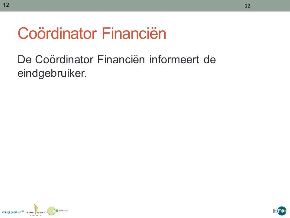 12 Coördinator Financiën De Coördinator Financiën informeert de eindgebruiker.