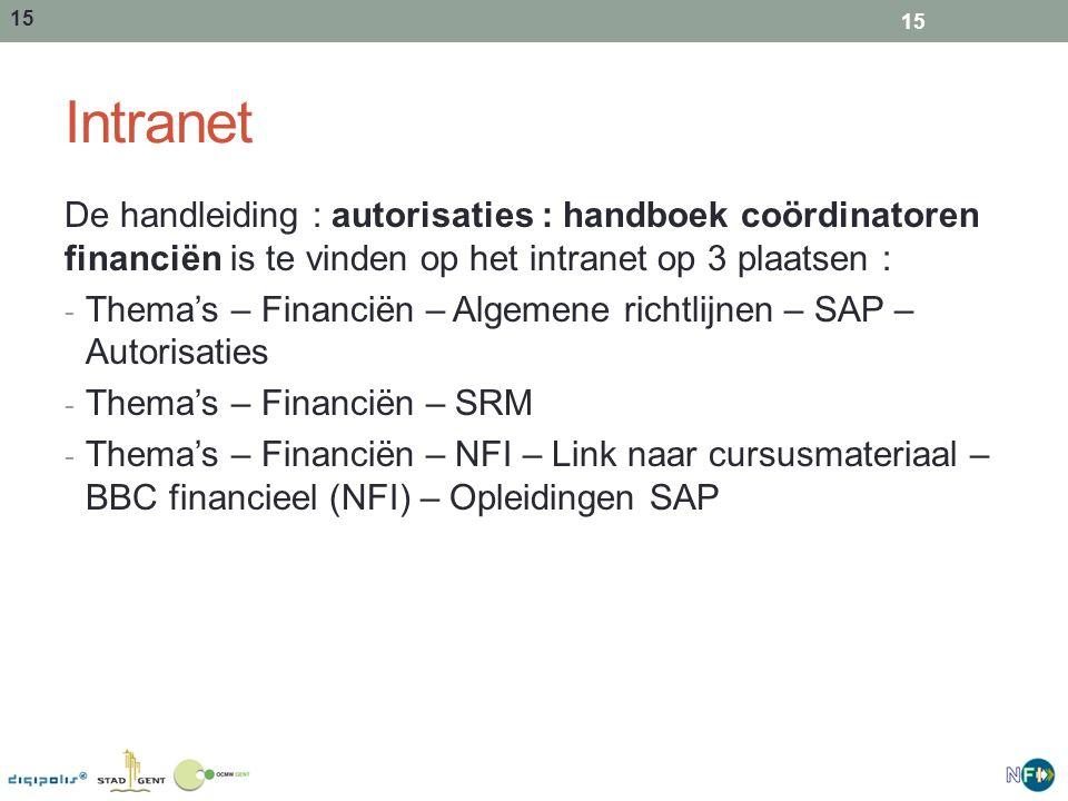 15 Intranet De handleiding : autorisaties : handboek coördinatoren financiën is te vinden op het intranet op 3 plaatsen : - Thema's – Financiën – Algemene richtlijnen – SAP – Autorisaties - Thema's – Financiën – SRM - Thema's – Financiën – NFI – Link naar cursusmateriaal – BBC financieel (NFI) – Opleidingen SAP 15