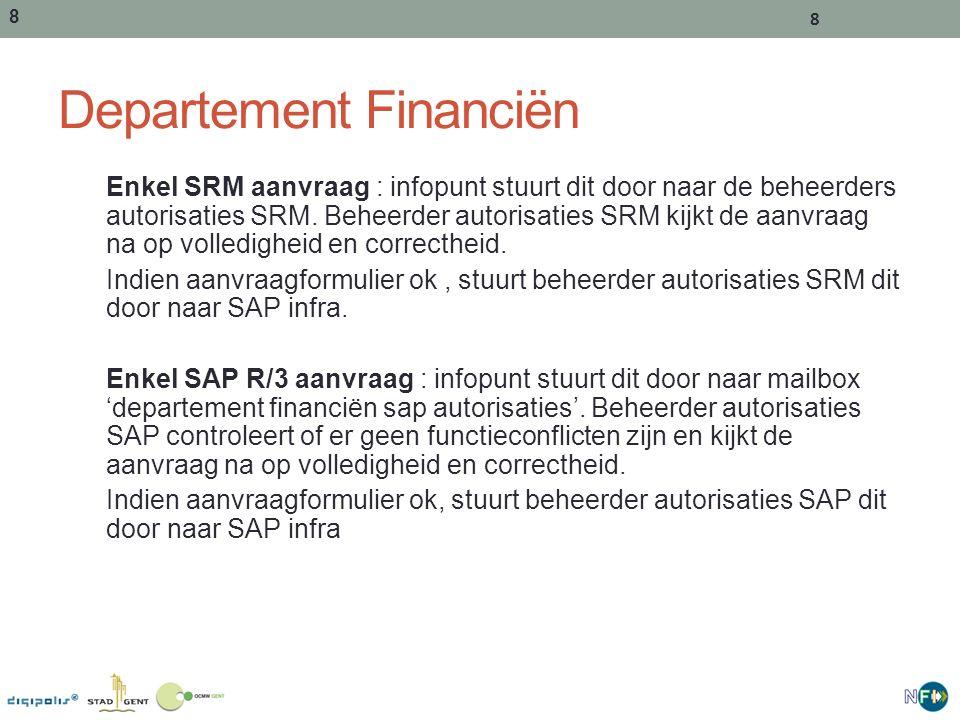 8 8 Departement Financiën Enkel SRM aanvraag : infopunt stuurt dit door naar de beheerders autorisaties SRM.