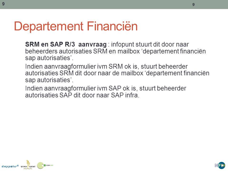 9 9 Departement Financiën SRM en SAP R/3 aanvraag : infopunt stuurt dit door naar beheerders autorisaties SRM en mailbox 'departement financiën sap autorisaties'.