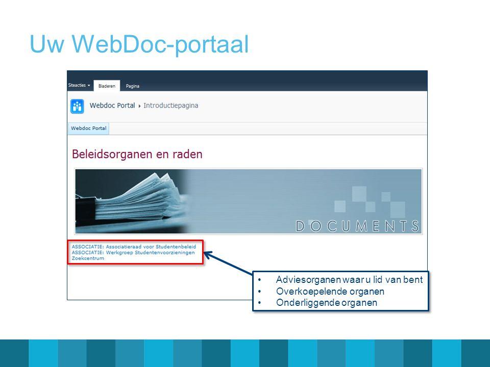 Uw WebDoc-portaal Adviesorganen waar u lid van bent Overkoepelende organen Onderliggende organen Adviesorganen waar u lid van bent Overkoepelende orga