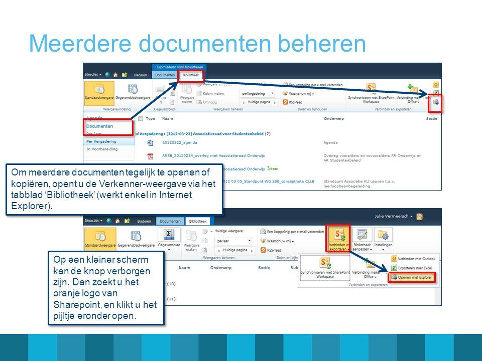 Meerdere documenten beheren Om meerdere documenten tegelijk te openen of kopiëren, opent u de Verkenner-weergave via het tabblad 'Bibliotheek' (werkt