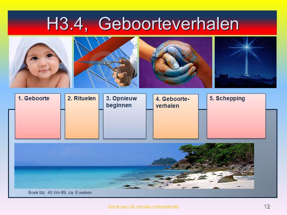 Denk aan de sociale competentie 12 4. Geboorte- verhalen 3.