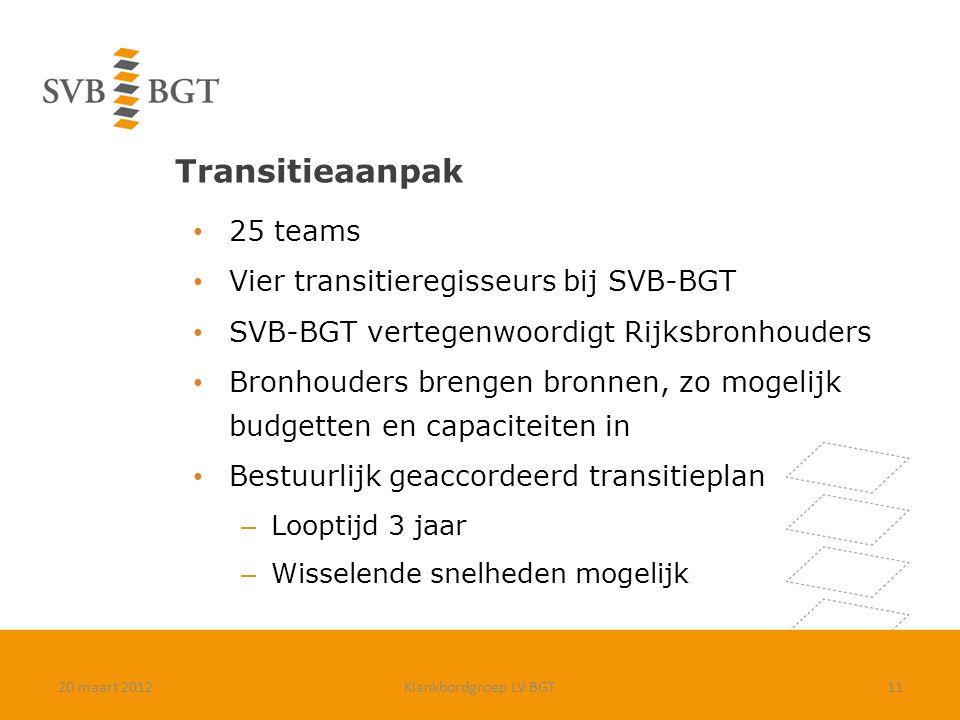 Transitieaanpak 25 teams Vier transitieregisseurs bij SVB-BGT SVB-BGT vertegenwoordigt Rijksbronhouders Bronhouders brengen bronnen, zo mogelijk budge