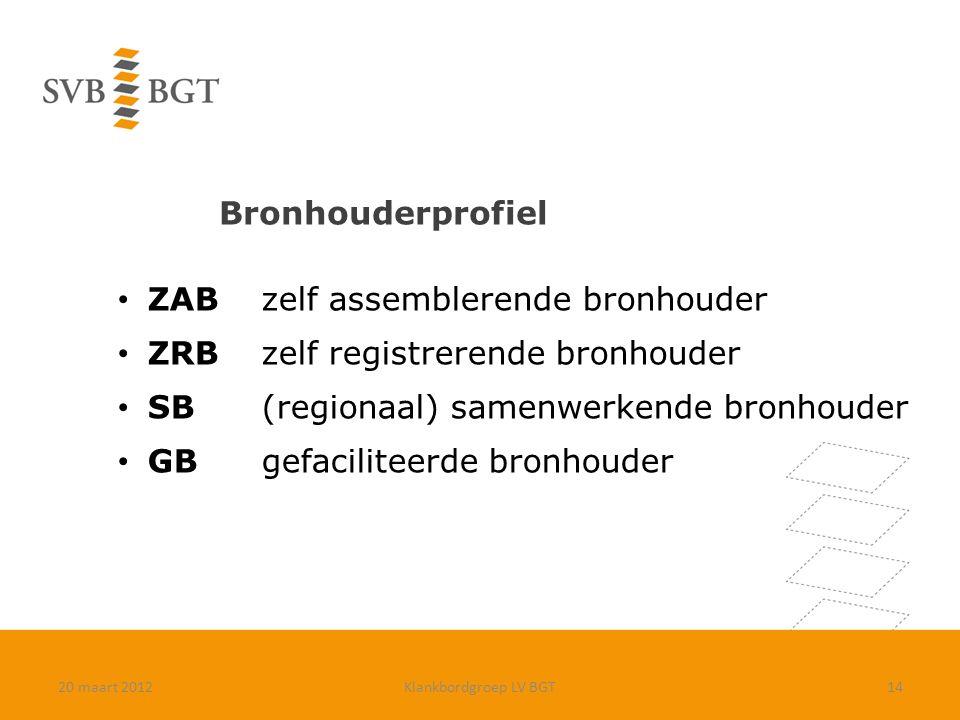 Bronhouderprofiel 20 maart 2012Klankbordgroep LV BGT14 ZABzelf assemblerende bronhouder ZRBzelf registrerende bronhouder SB(regionaal) samenwerkende b
