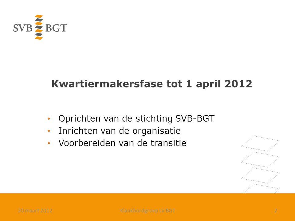 Kwartiermakersfase tot 1 april 2012 Oprichten van de stichting SVB-BGT Inrichten van de organisatie Voorbereiden van de transitie 220 maart 2012Klankb
