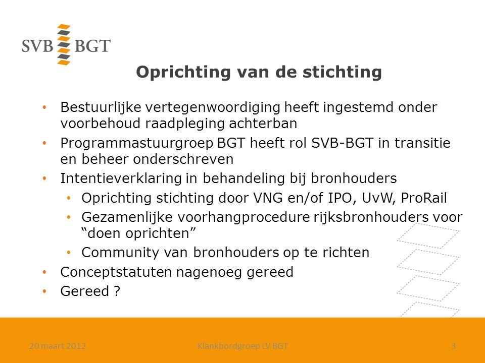 Oprichting van de stichting Bestuurlijke vertegenwoordiging heeft ingestemd onder voorbehoud raadpleging achterban Programmastuurgroep BGT heeft rol S