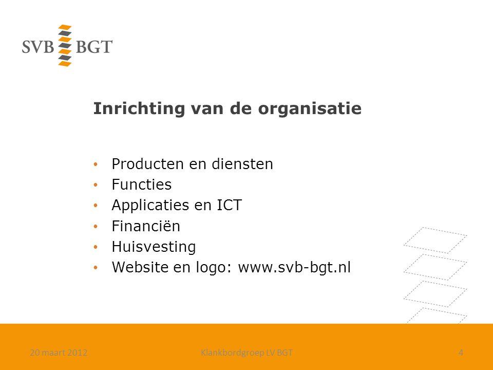 Inrichting van de organisatie Producten en diensten Functies Applicaties en ICT Financiën Huisvesting Website en logo: www.svb-bgt.nl 420 maart 2012Kl