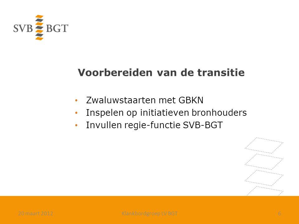 Voorbereiden van de transitie Zwaluwstaarten met GBKN Inspelen op initiatieven bronhouders Invullen regie-functie SVB-BGT 620 maart 2012Klankbordgroep LV BGT
