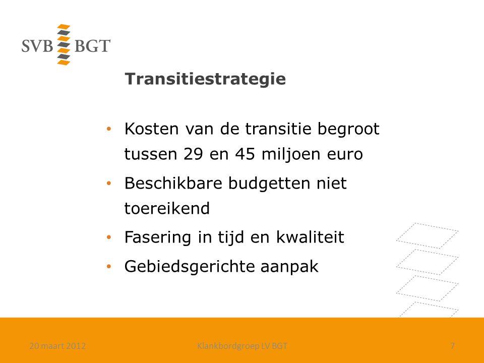 Transitiestrategie Kosten van de transitie begroot tussen 29 en 45 miljoen euro Beschikbare budgetten niet toereikend Fasering in tijd en kwaliteit Gebiedsgerichte aanpak 720 maart 2012Klankbordgroep LV BGT