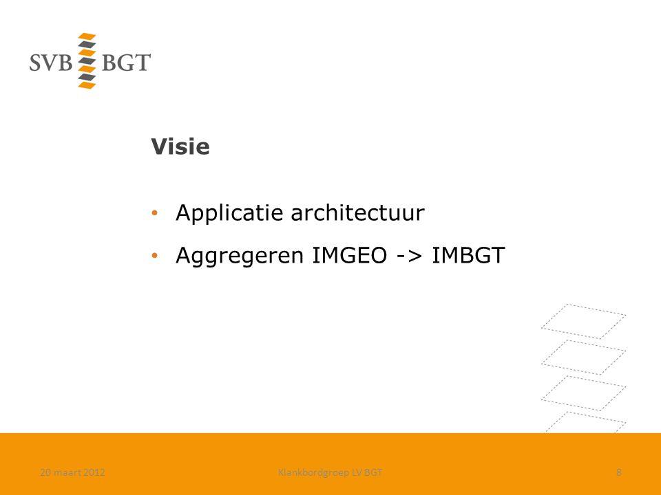 Visie Applicatie architectuur Aggregeren IMGEO -> IMBGT 20 maart 2012Klankbordgroep LV BGT8