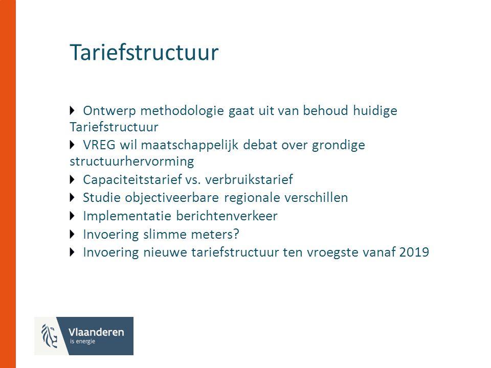Tariefstructuur Ontwerp methodologie gaat uit van behoud huidige Tariefstructuur VREG wil maatschappelijk debat over grondige structuurhervorming Capaciteitstarief vs.