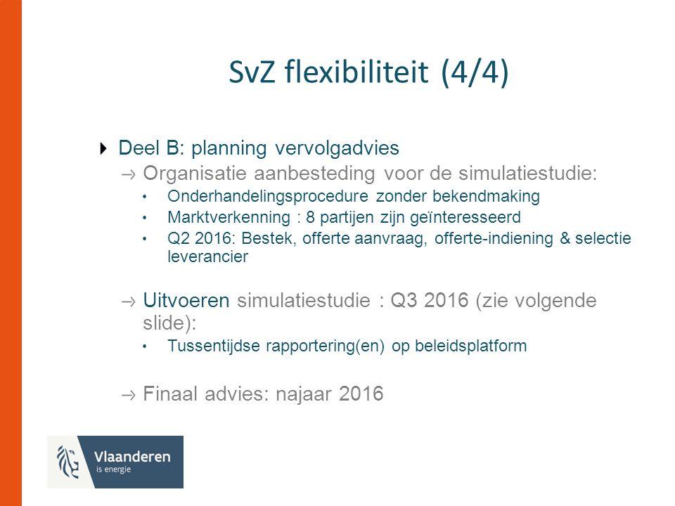 SvZ flexibiliteit (4/4) Deel B: planning vervolgadvies Organisatie aanbesteding voor de simulatiestudie: Onderhandelingsprocedure zonder bekendmaking Marktverkenning : 8 partijen zijn geïnteresseerd Q2 2016: Bestek, offerte aanvraag, offerte-indiening & selectie leverancier Uitvoeren simulatiestudie : Q3 2016 (zie volgende slide): Tussentijdse rapportering(en) op beleidsplatform Finaal advies: najaar 2016