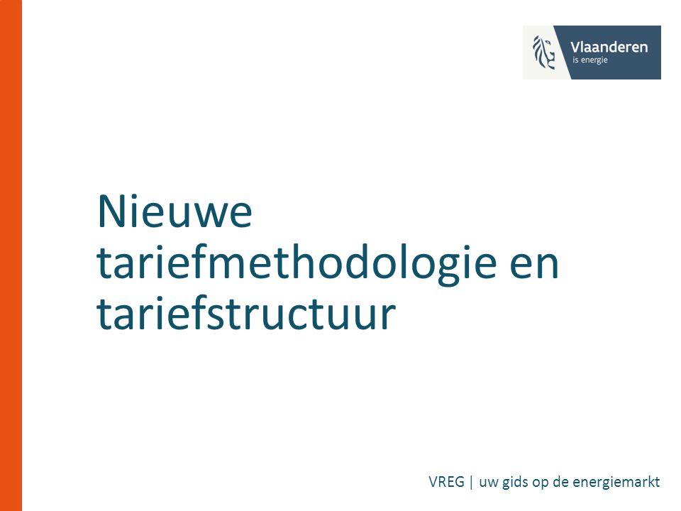 Tariefmethodologie 2017-2020 Procedure en richtsnoeren vastgelegd bij Decreet Ontwerp tot stand gekomen na gestructureerd, gedocumenteerd en transparant overleg met de DNB's Alle documenten beschikbaar op website http://www.vreg.be/nl/document/cons-2016-04 Consultatie van 4 mei tot en met 28 juni 2016 Beslissing na verwerking van de schriftelijke reacties (planning: augustus - september 2016) Op basis van methodologie zullen DNB's dan tariefvoorstellen indienen