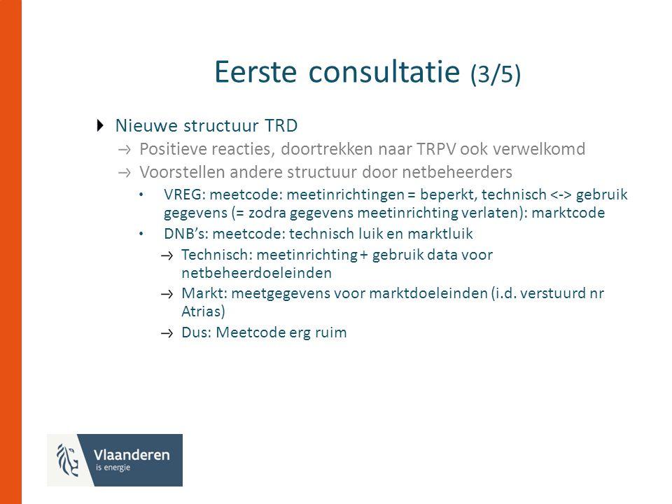 Eerste consultatie (3/5) Nieuwe structuur TRD Positieve reacties, doortrekken naar TRPV ook verwelkomd Voorstellen andere structuur door netbeheerders VREG: meetcode: meetinrichtingen = beperkt, technisch gebruik gegevens (= zodra gegevens meetinrichting verlaten): marktcode DNB's: meetcode: technisch luik en marktluik Technisch: meetinrichting + gebruik data voor netbeheerdoeleinden Markt: meetgegevens voor marktdoeleinden (i.d.